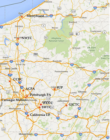 Certified Schools Western Region - Map of western pa